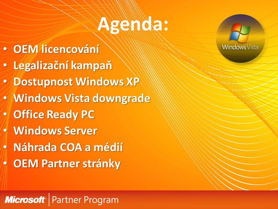 Agenda: OEM licencování Legalizační kampaň Dostupnost Windows XP