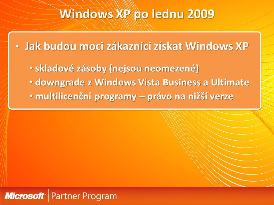 Windows XP po lednu 2009 Jak budou moci zákazníci získat Windows XP
