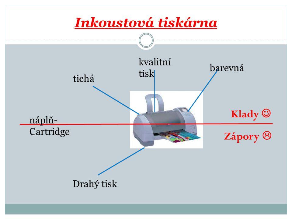Inkoustová tiskárna kvalitní tisk barevná tichá náplň- Cartridge