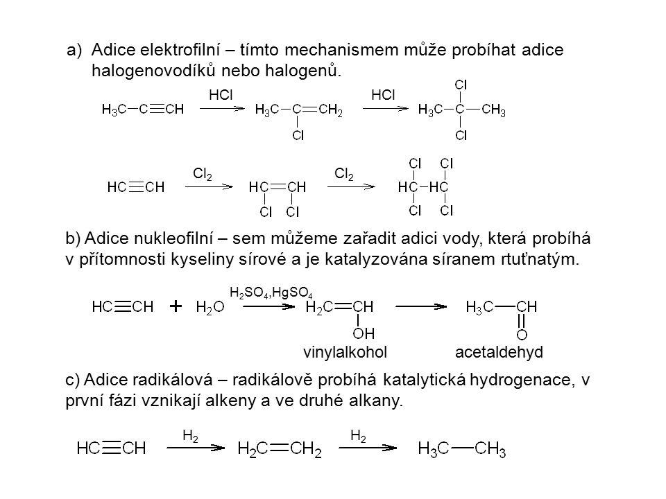 Adice elektrofilní – tímto mechanismem může probíhat adice halogenovodíků nebo halogenů.