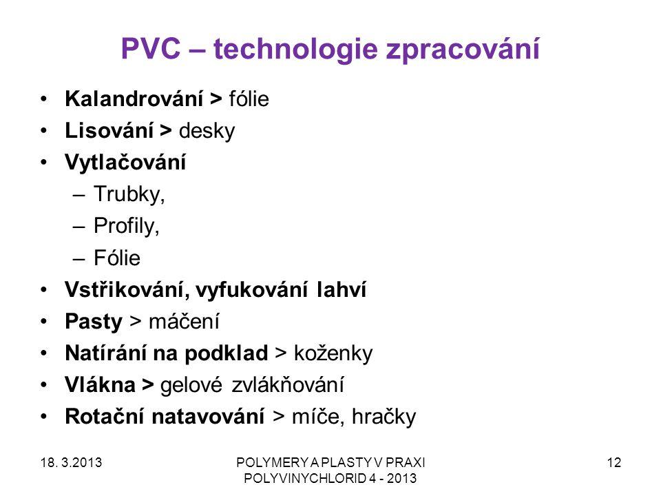 PVC – technologie zpracování