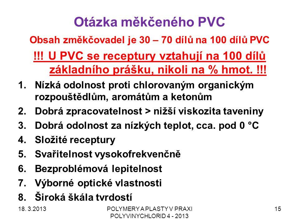 Obsah změkčovadel je 30 – 70 dílů na 100 dílů PVC