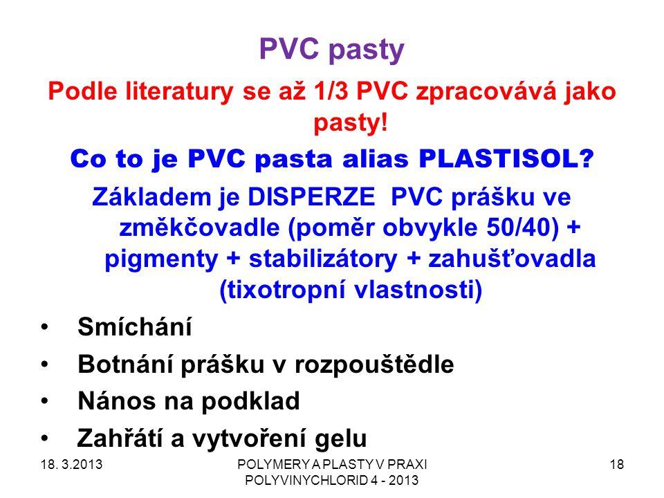 PVC pasty Podle literatury se až 1/3 PVC zpracovává jako pasty!