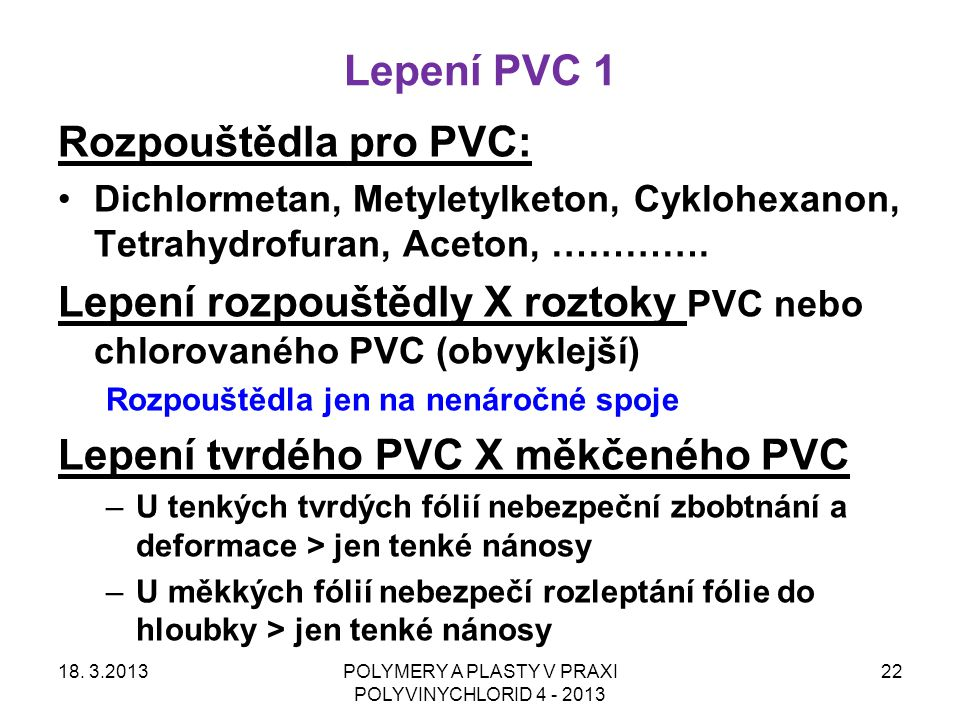 POLYMERY A PLASTY V PRAXI POLYVINYCHLORID 4 - 2013