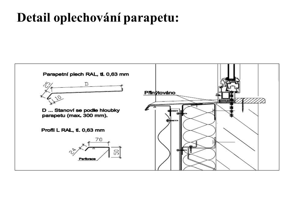 Detail oplechování parapetu: