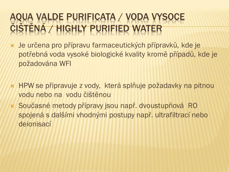 Aqua valde purificata / Voda vysoce čištěná / Highly purified Water