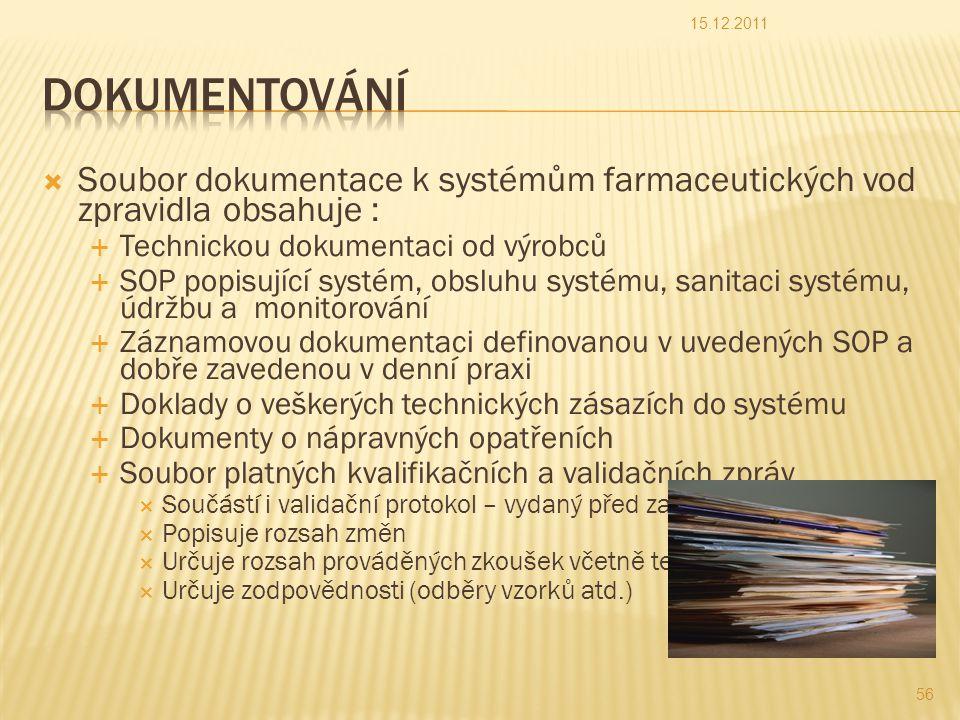 15.12.2011 Dokumentování. Soubor dokumentace k systémům farmaceutických vod zpravidla obsahuje : Technickou dokumentaci od výrobců.