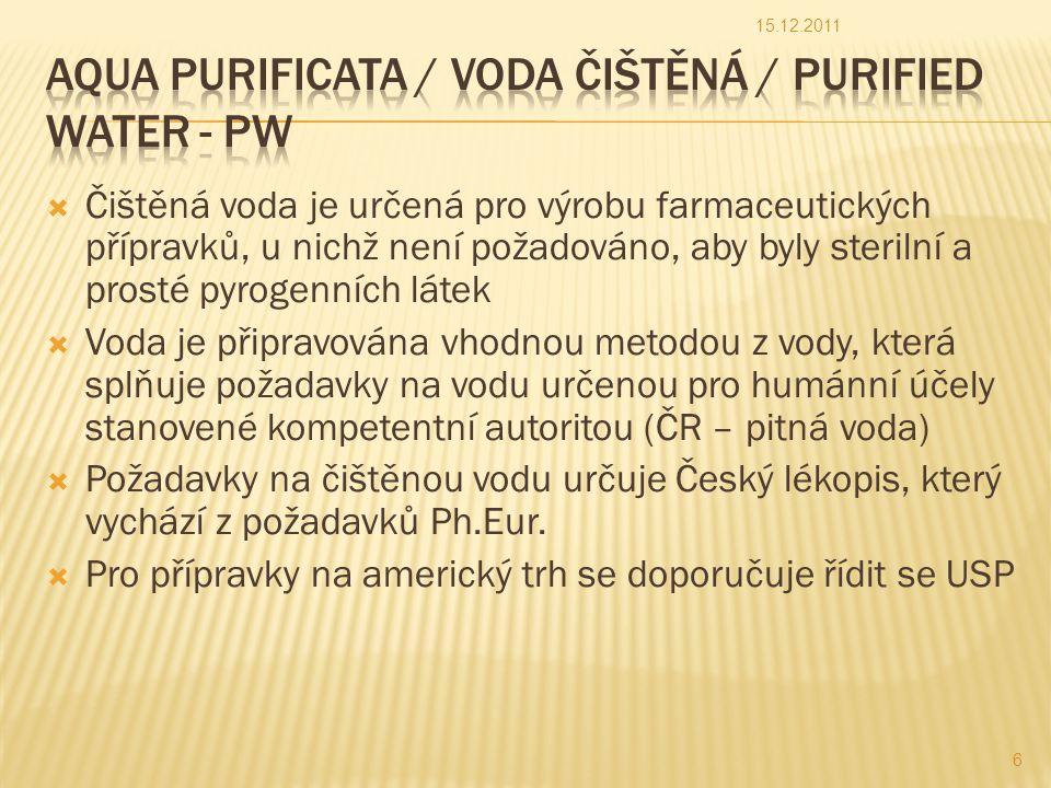 Aqua purificata / Voda čištěná / Purified Water - PW
