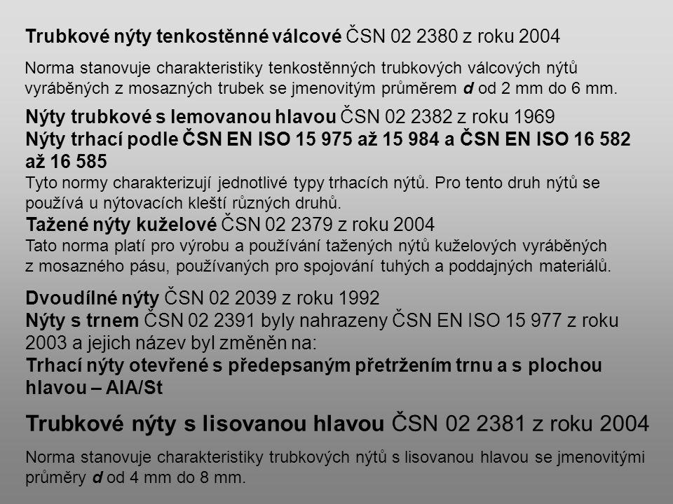 Trubkové nýty s lisovanou hlavou ČSN 02 2381 z roku 2004