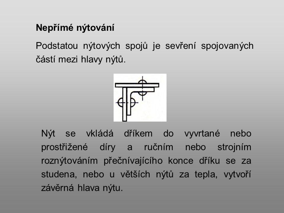 Nepřímé nýtování Podstatou nýtových spojů je sevření spojovaných částí mezi hlavy nýtů.
