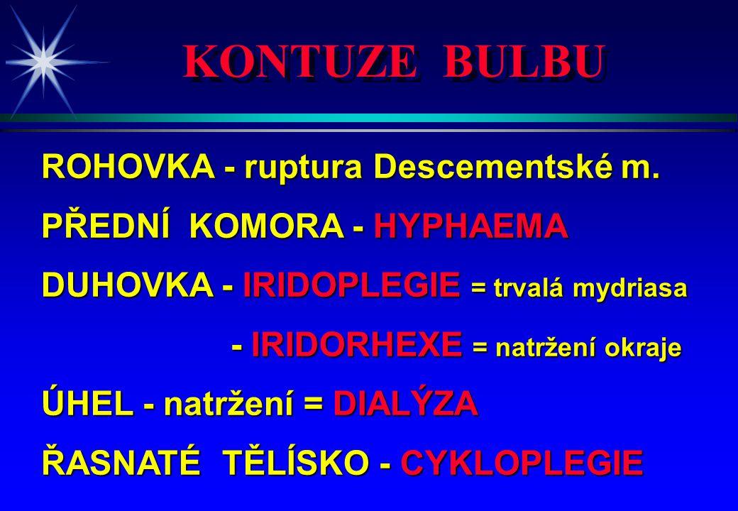 KONTUZE BULBU ROHOVKA - ruptura Descementské m.