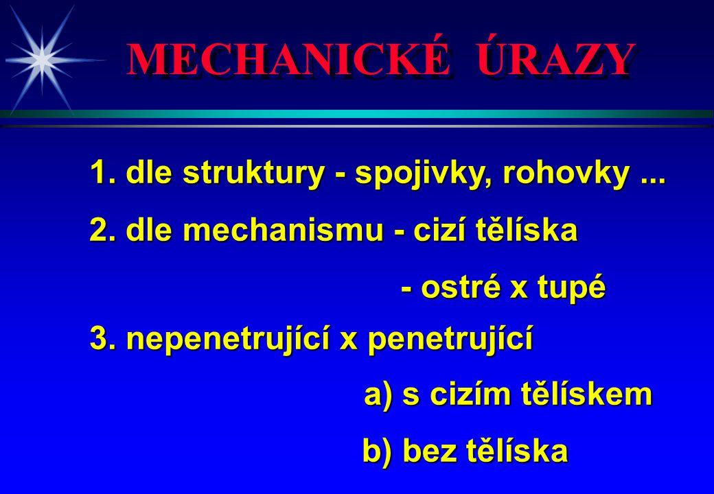 MECHANICKÉ ÚRAZY 1. dle struktury - spojivky, rohovky ...