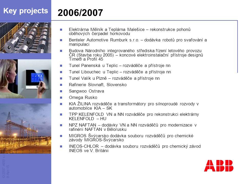 Key projects 2006/2007. Elektrárna Mělník a Teplárna Malešice – rekonstrukce pohonů oběhových čerpadel horkovodu.