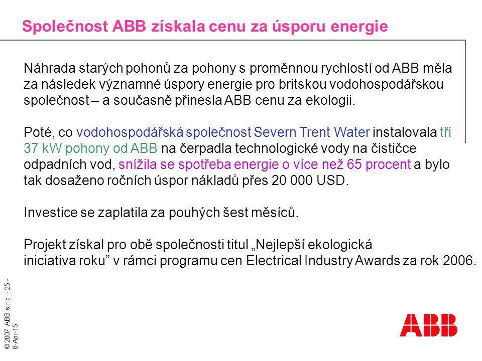 Společnost ABB získala cenu za úsporu energie