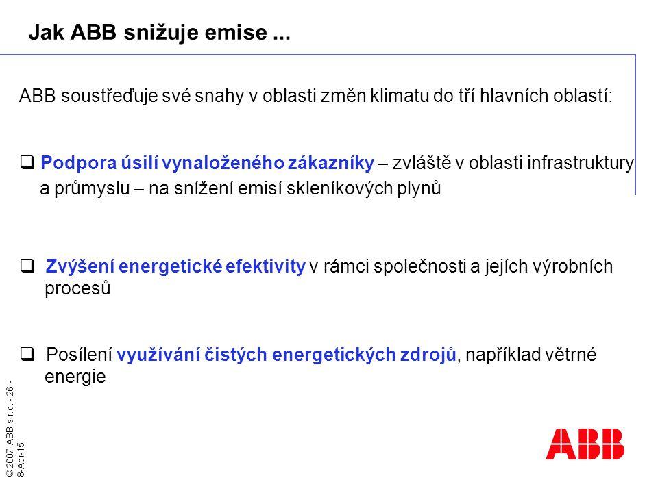 Jak ABB snižuje emise ... ABB soustřeďuje své snahy v oblasti změn klimatu do tří hlavních oblastí: