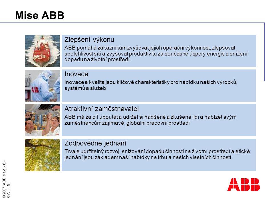 Mise ABB Zlepšení výkonu Inovace Atraktivní zaměstnavatel