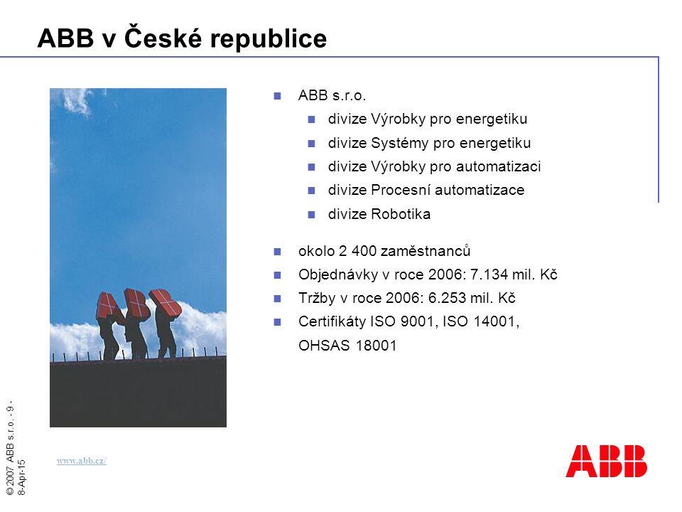 ABB v České republice ABB s.r.o. divize Výrobky pro energetiku