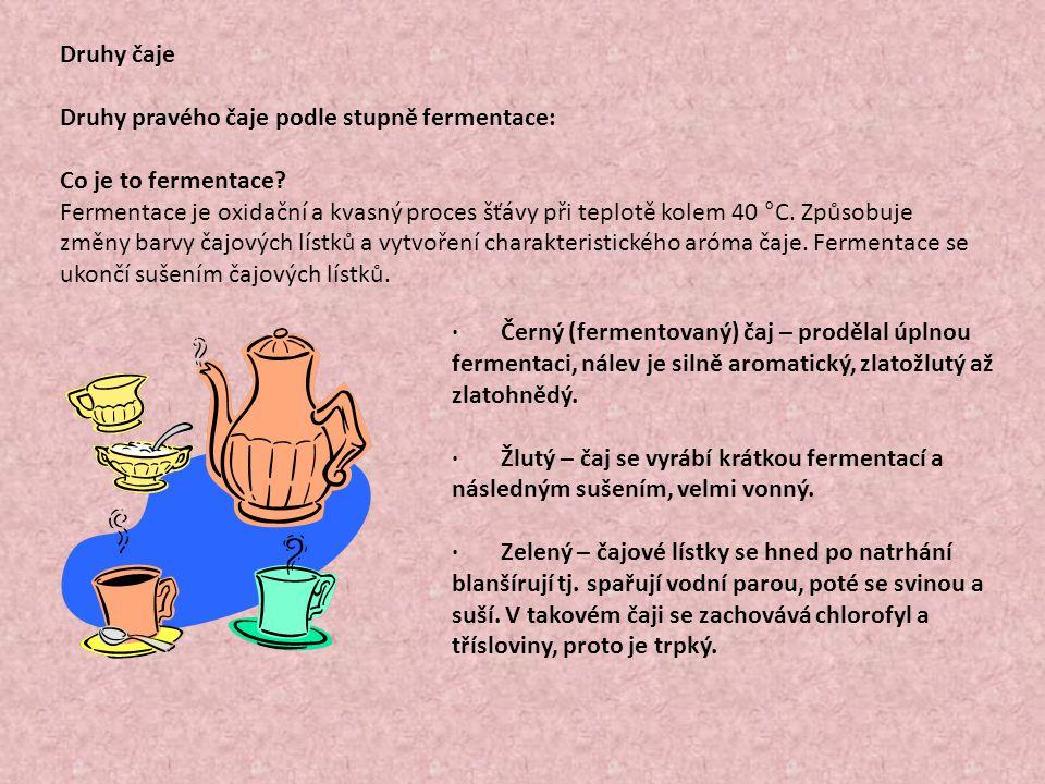 Druhy čaje Druhy pravého čaje podle stupně fermentace: Co je to fermentace