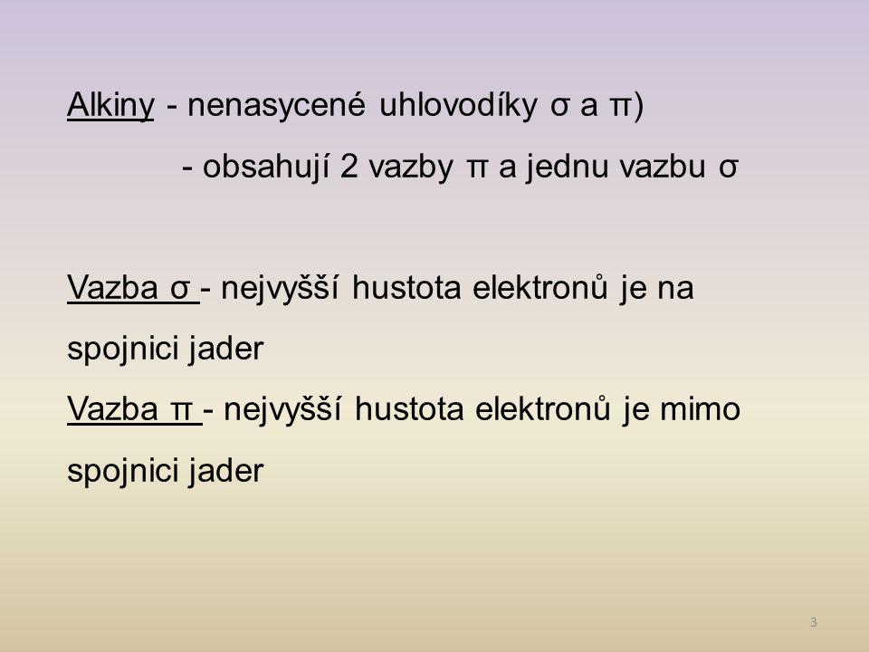 Alkiny - nenasycené uhlovodíky σ a π)