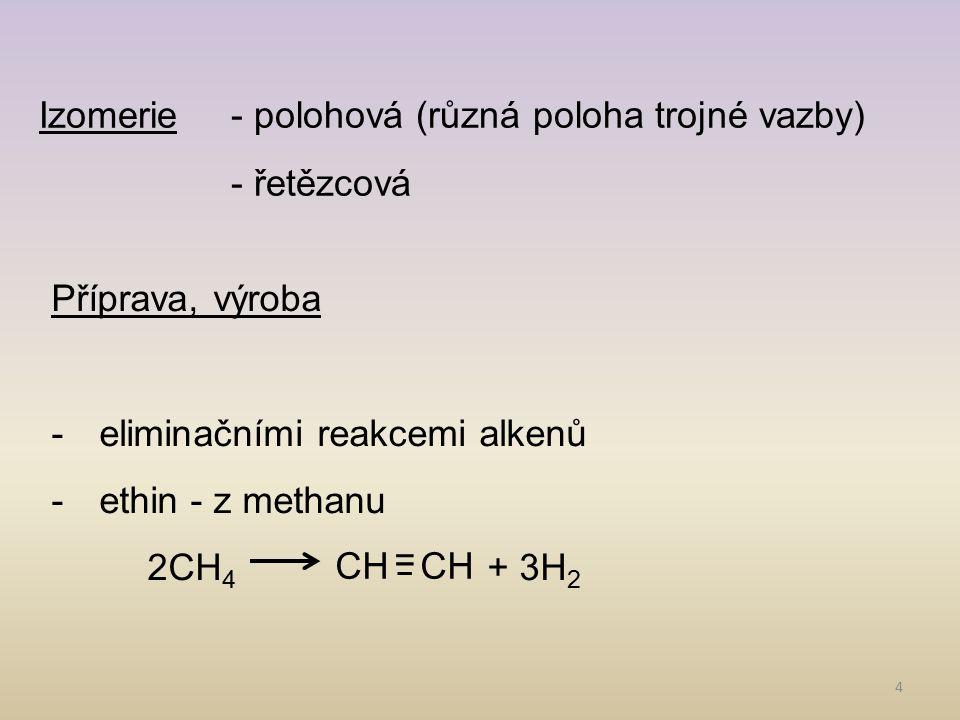 Izomerie - polohová (různá poloha trojné vazby)