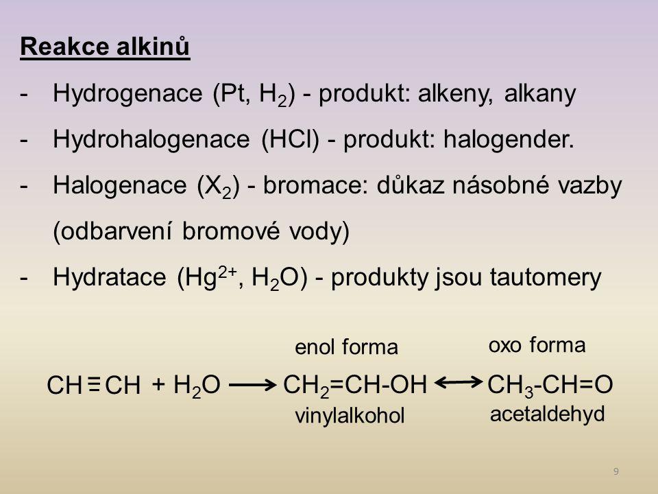 Hydrogenace (Pt, H2) - produkt: alkeny, alkany