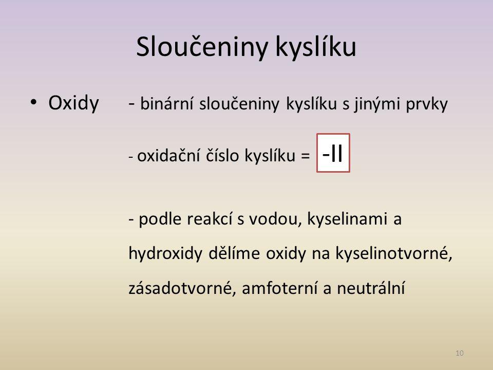 Sloučeniny kyslíku -II