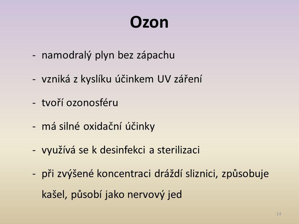 Ozon namodralý plyn bez zápachu vzniká z kyslíku účinkem UV záření