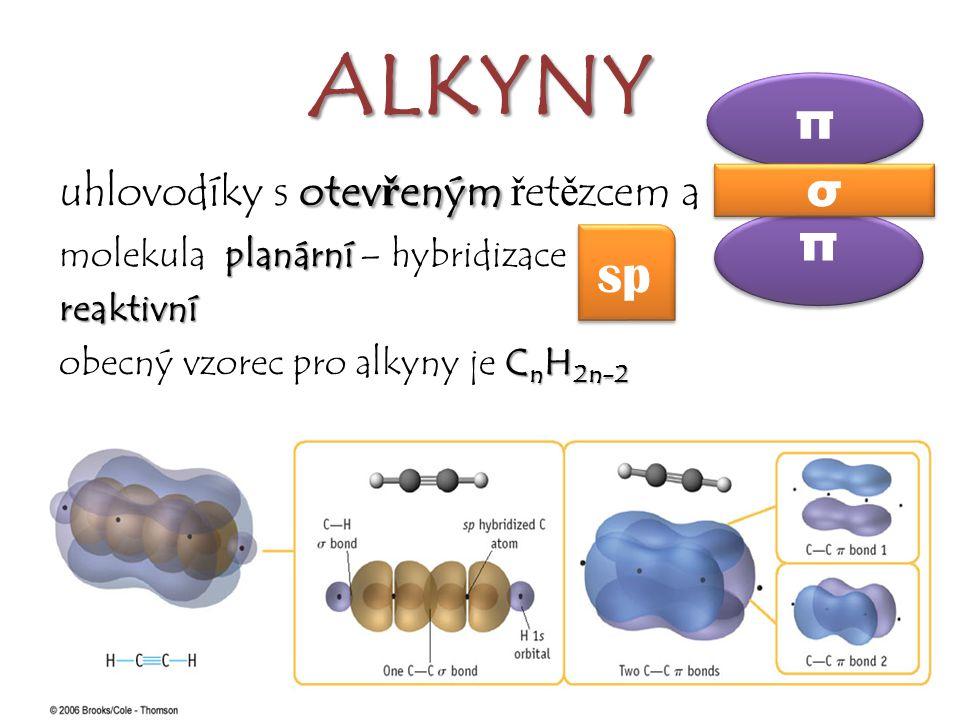 ALKYNY π π sp σ uhlovodíky s otevřeným řetězcem a ≡