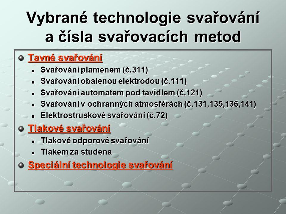 Vybrané technologie svařování a čísla svařovacích metod