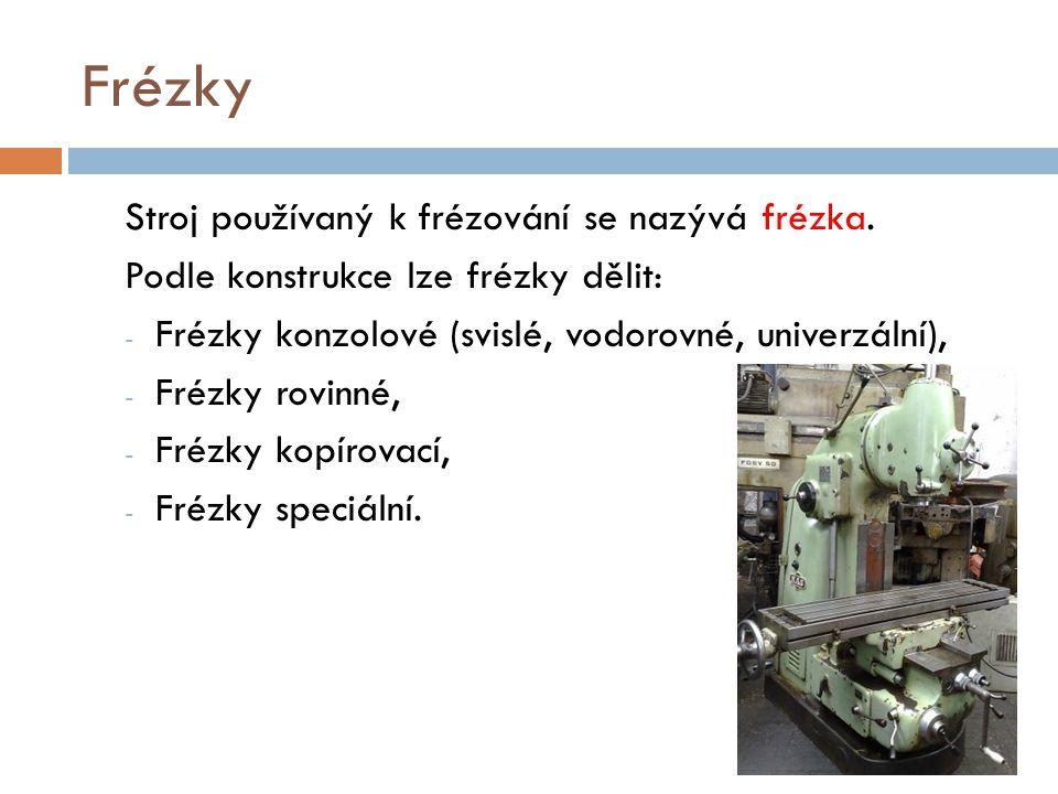 Frézky Stroj používaný k frézování se nazývá frézka.