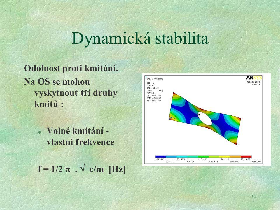 Dynamická stabilita Odolnost proti kmitání.
