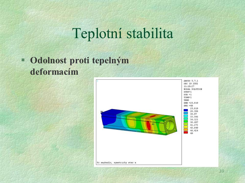 Teplotní stabilita Odolnost proti tepelným deformacím