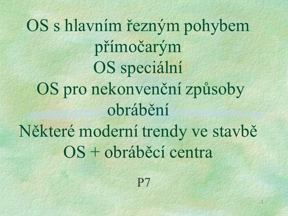 OS s hlavním řezným pohybem přímočarým OS speciální OS pro nekonvenční způsoby obrábění Některé moderní trendy ve stavbě OS + obráběcí centra