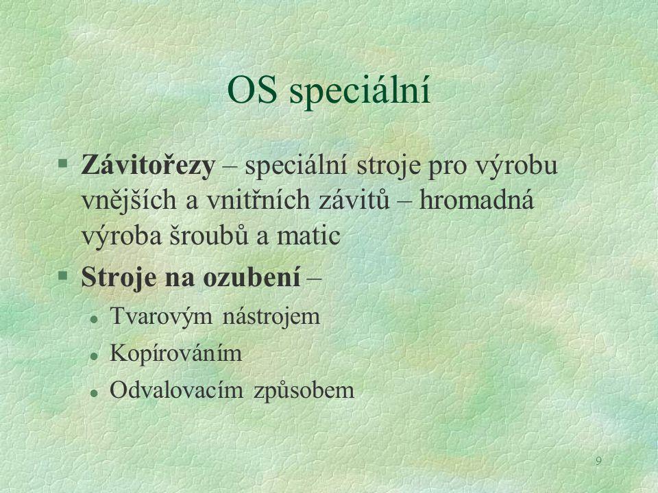 OS speciální Závitořezy – speciální stroje pro výrobu vnějších a vnitřních závitů – hromadná výroba šroubů a matic.
