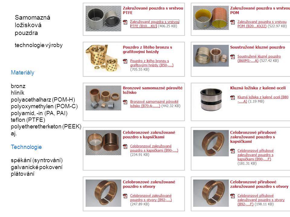 Samomazná ložisková pouzdra technologie výroby Materiály bronz hliník