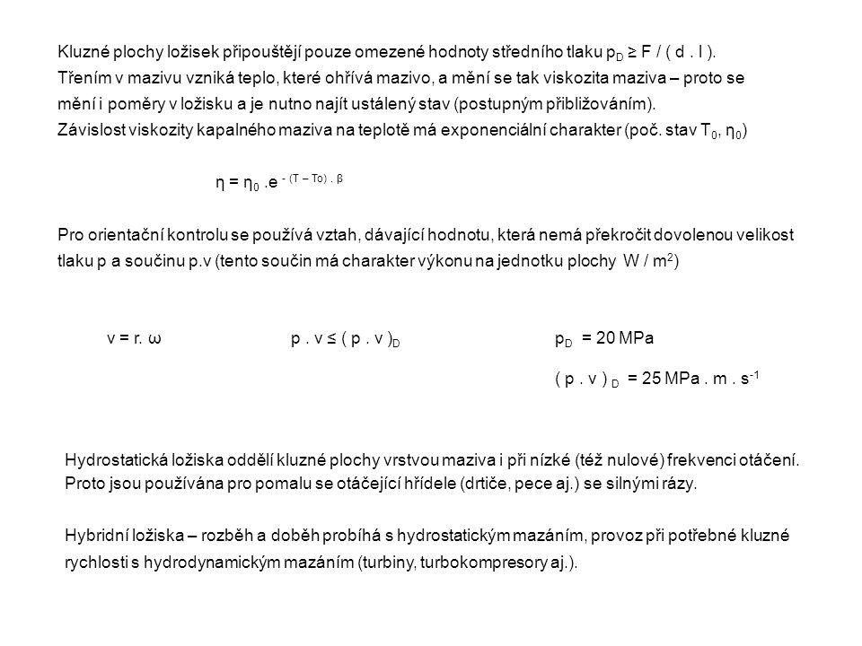 Kluzné plochy ložisek připouštějí pouze omezené hodnoty středního tlaku pD ≥ F / ( d . l ).