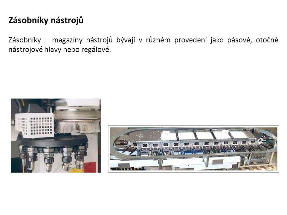 Zásobníky nástrojů Zásobníky – magazíny nástrojů bývají v různém provedení jako pásové, otočné nástrojové hlavy nebo regálové.