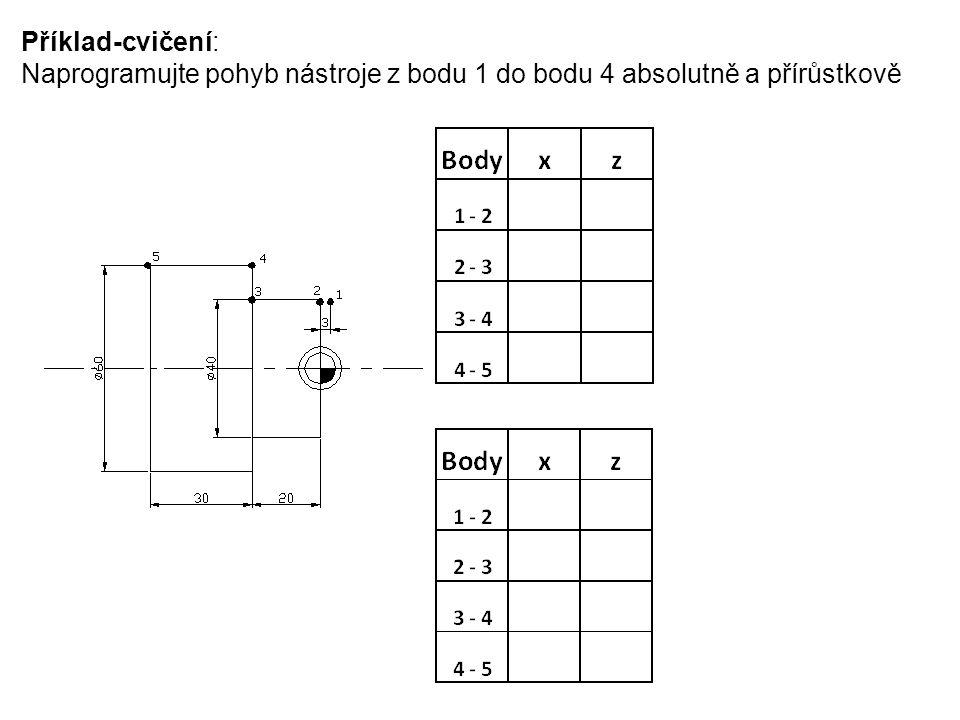 Příklad-cvičení: Naprogramujte pohyb nástroje z bodu 1 do bodu 4 absolutně a přírůstkově