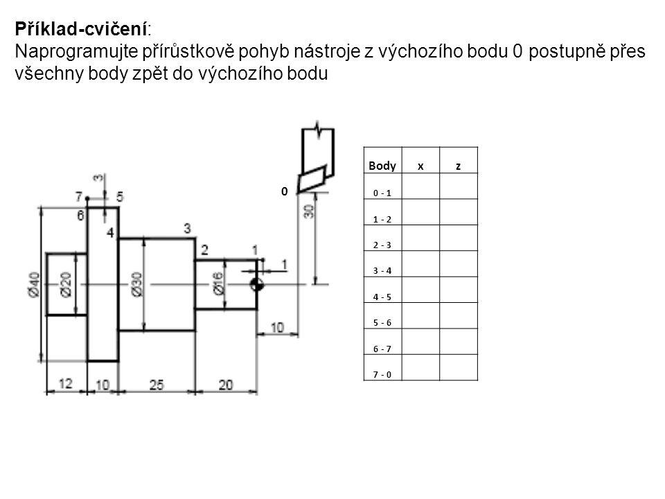 Příklad-cvičení: Naprogramujte přírůstkově pohyb nástroje z výchozího bodu 0 postupně přes všechny body zpět do výchozího bodu.
