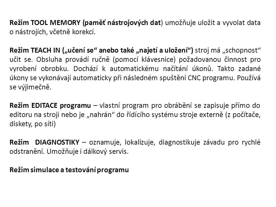 Režim TOOL MEMORY (paměť nástrojových dat) umožňuje uložit a vyvolat data o nástrojích, včetně korekcí.