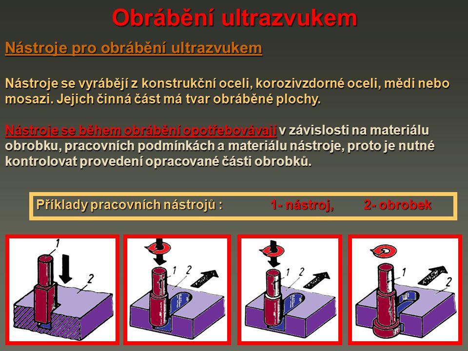 Obrábění ultrazvukem Nástroje pro obrábění ultrazvukem