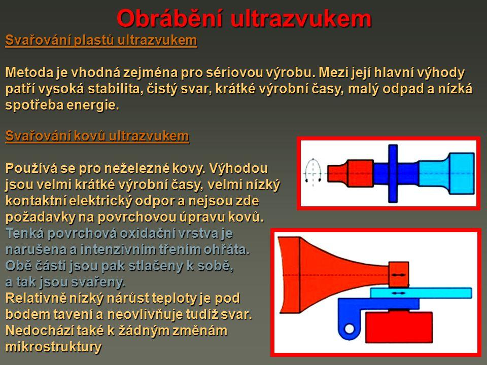 Obrábění ultrazvukem Svařování plastů ultrazvukem