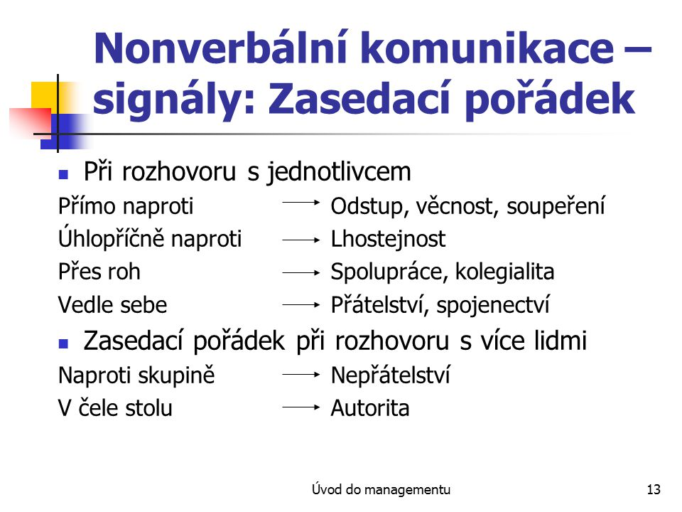 Nonverbální komunikace – signály: Zasedací pořádek