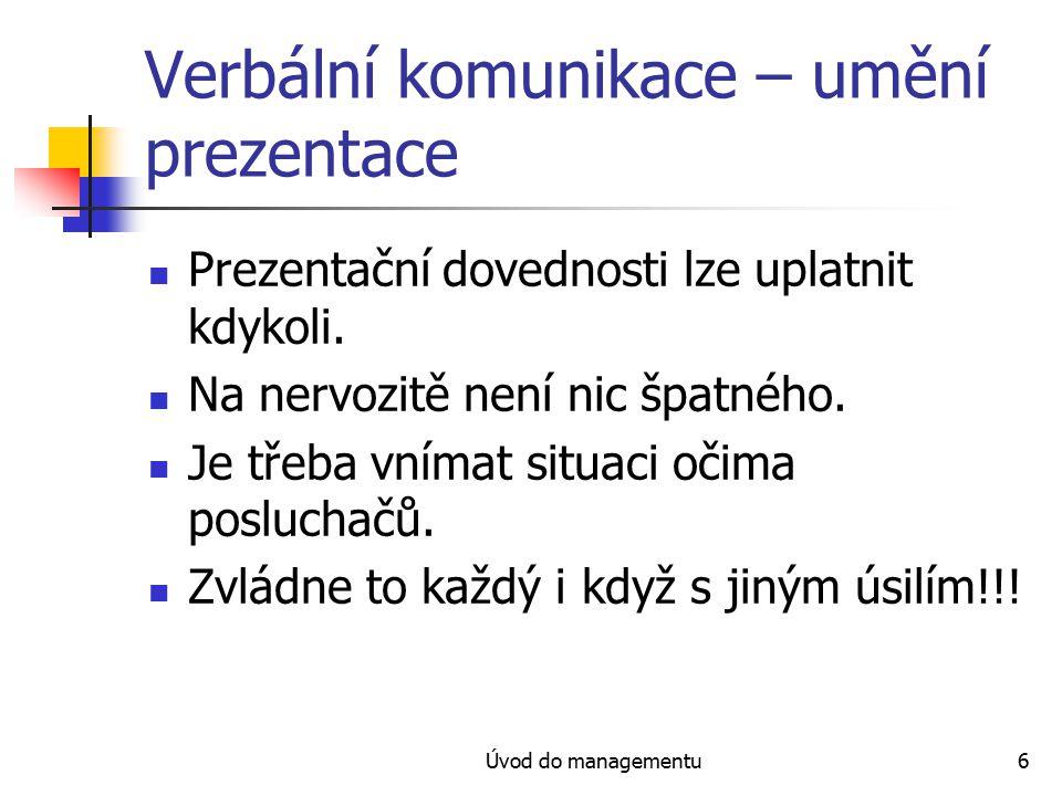Verbální komunikace – umění prezentace