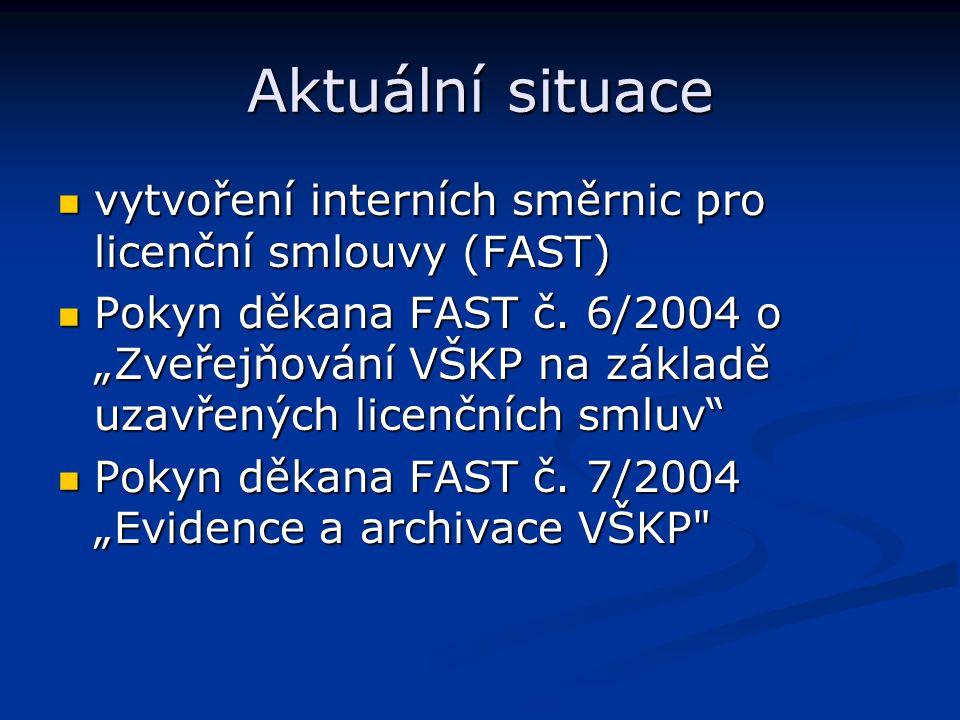 Aktuální situace vytvoření interních směrnic pro licenční smlouvy (FAST)