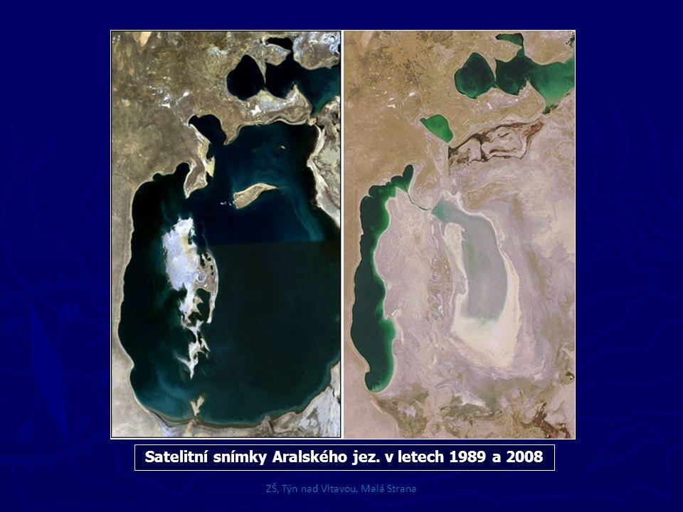Satelitní snímky Aralského jez. v letech 1989 a 2008