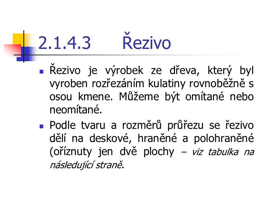 2.1.4.3 Řezivo Řezivo je výrobek ze dřeva, který byl vyroben rozřezáním kulatiny rovnoběžně s osou kmene. Můžeme být omítané nebo neomítané.