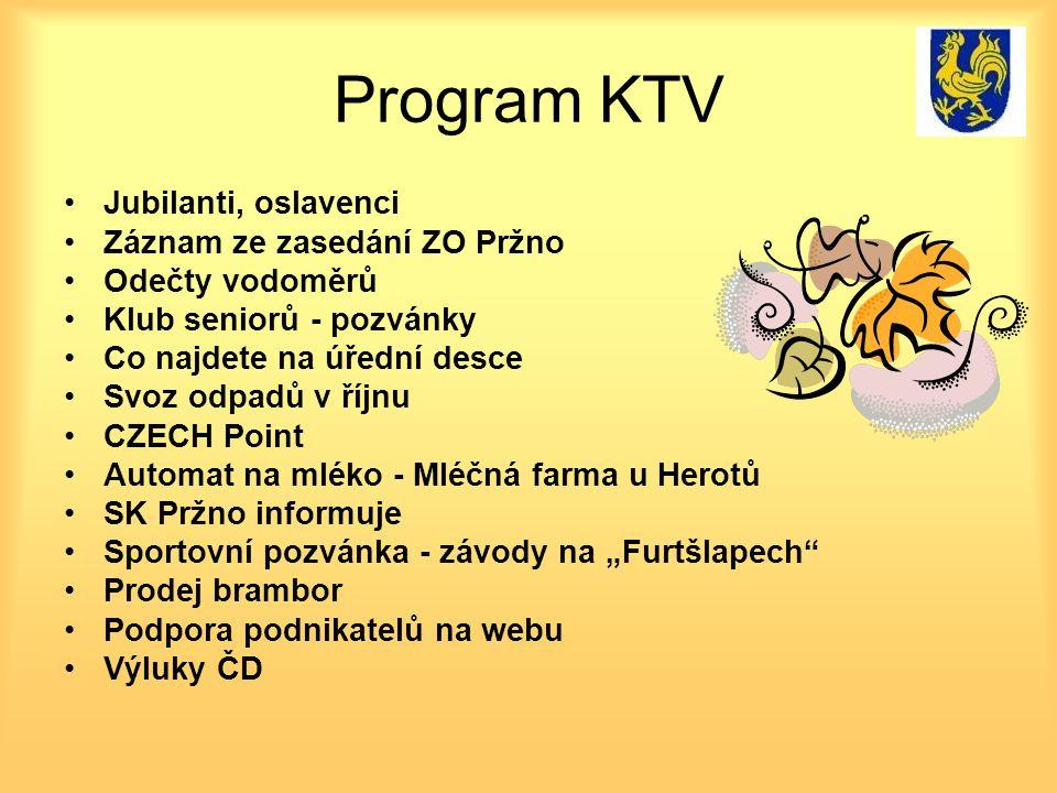 Program KTV Jubilanti, oslavenci Záznam ze zasedání ZO Pržno