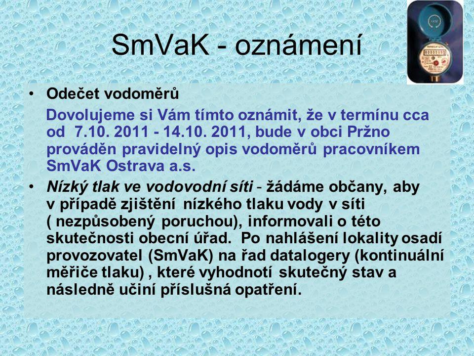 SmVaK - oznámení Odečet vodoměrů