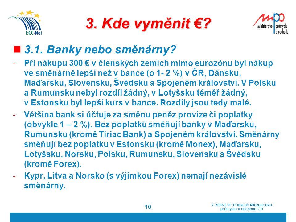 3. Kde vyměnit € 3.1. Banky nebo směnárny
